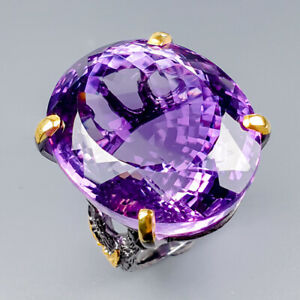 Vintage70ct-Natural-Amethyst-925-Sterling-Silver-Ring-Size-9-R121675