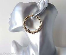 "Gorgeous shiny gold tone ACRYLIC bamboo creole style hoop earrings * 2"" - 5cm"