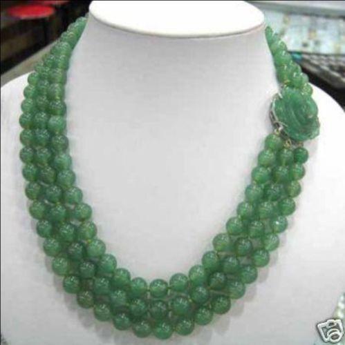 Handmade Glamour Ligne 3 Vert jade Perles Collier Jade Boucle