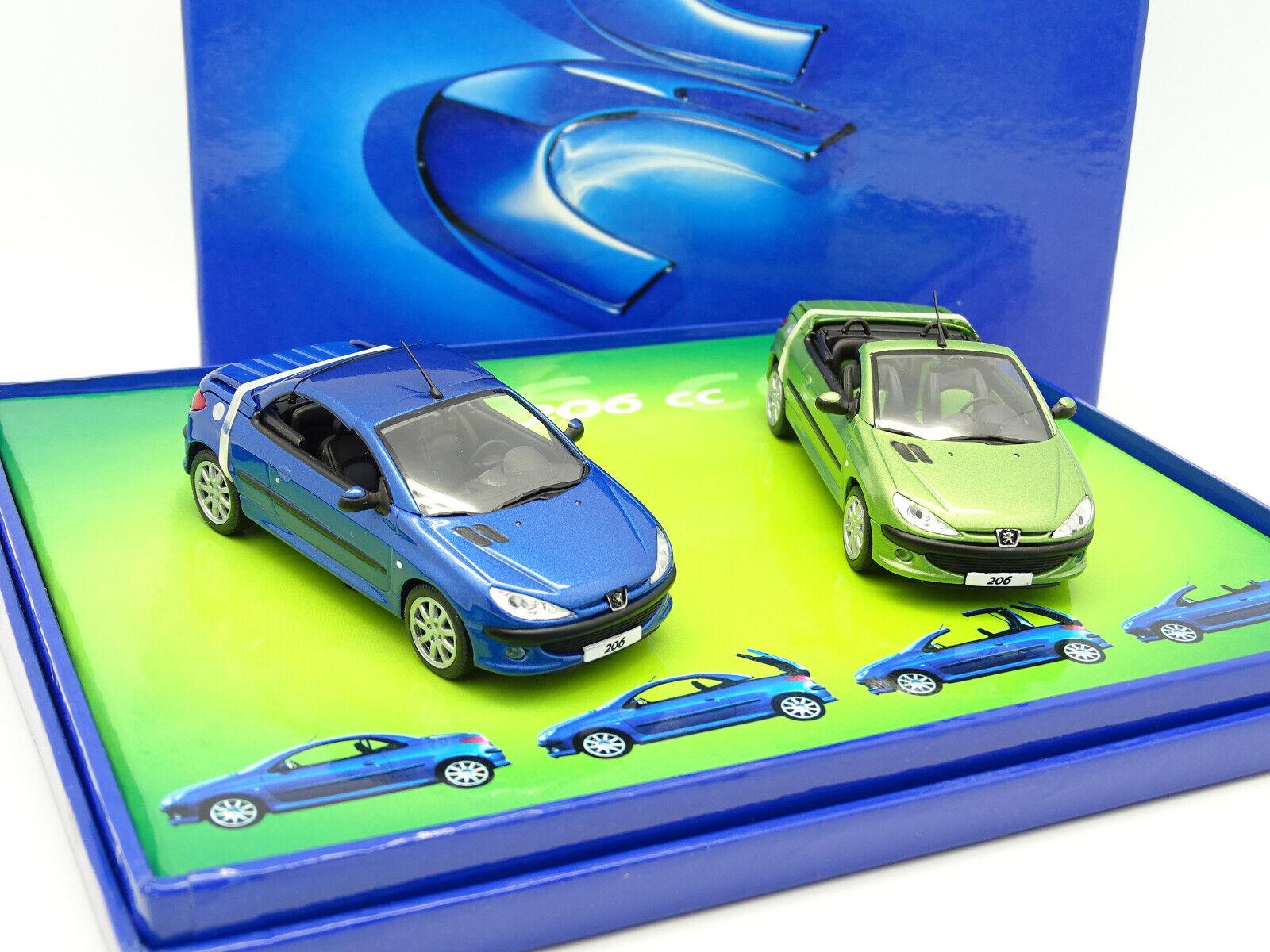 Norev 143  Scatola Peugeot 206 verde CC e blu