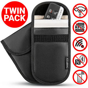 2-x-Car-Key-Signal-Blocker-Case-Faraday-Cage-Fob-Pouch-Keyless-RFID-Blocking-Bag