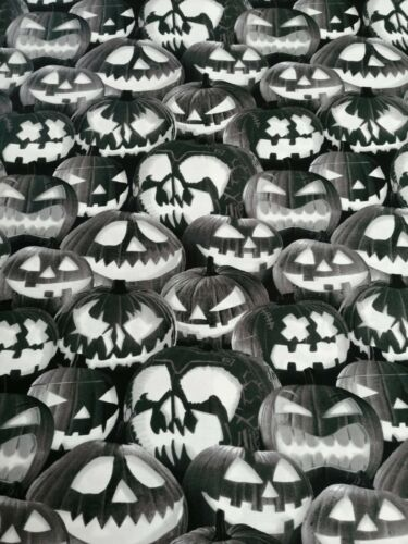 Cotton Fabric Fat Quarter quilting Ghoulish Gathering Pumpkins glow in the dark