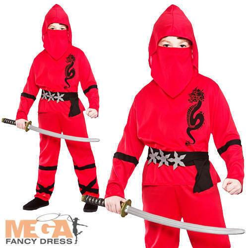 Red Ninja Boys Fancy Dress Japanese Samurai Warrior Kids Childs Costume Outfit