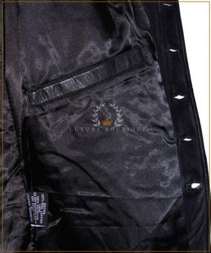 Men/'s Révolution noir SR1425 Matrice pleine longueur Nehru Col en cuir Manteau