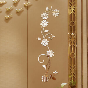 KE-3D-DIY-Acrylic-Mirror-Effect-Flower-Vine-Wall-Stickers-Mural-Decal-Decor-F