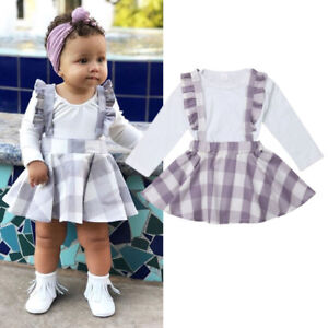 204a98826 UK 2Pcs Newborn Baby Girls Romper Plaids Overall Skirt Suspenders ...