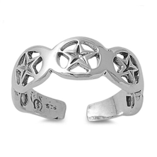 Star Design Toe Ring Face Height 5 mm Solid Sterling Silver 925 USA Seller