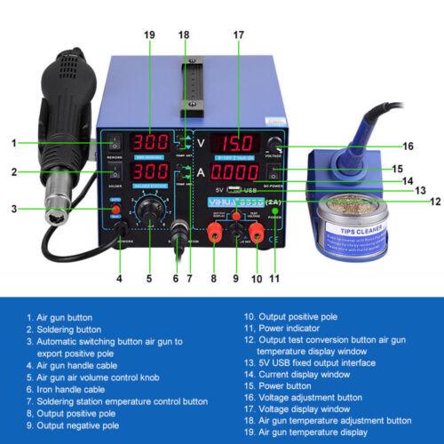 YIHUA 853D 2A 220V Soldering Station Hot Air Gun Rework Solder Iron 11pcs Tool