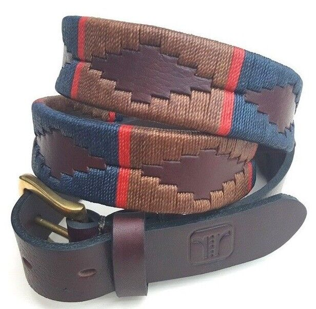 Polo Belt  silverinian Gaucho Brown Leather  Belt  PLUS FREE KEYRING