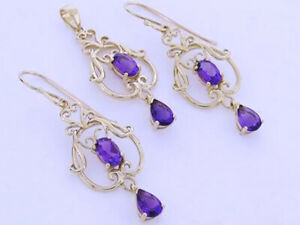 E040-Genuine-9ct-Yellow-Gold-NATURAL-Amethyst-Filigree-Scroll-Drop-Earrings