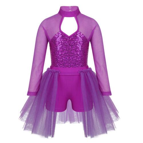 Girls Ballet Dance Dress Tutu Skirt Kid Ballerina Leotard Jumpsuit Skate Costume