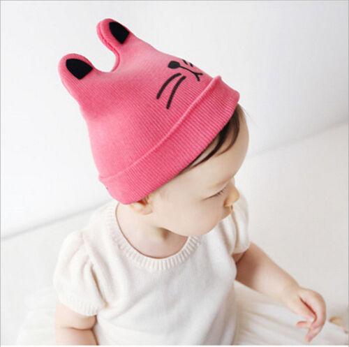 Bonnet Chat Avec Oreilles Bébé Nouveau-Né Filles Garçons