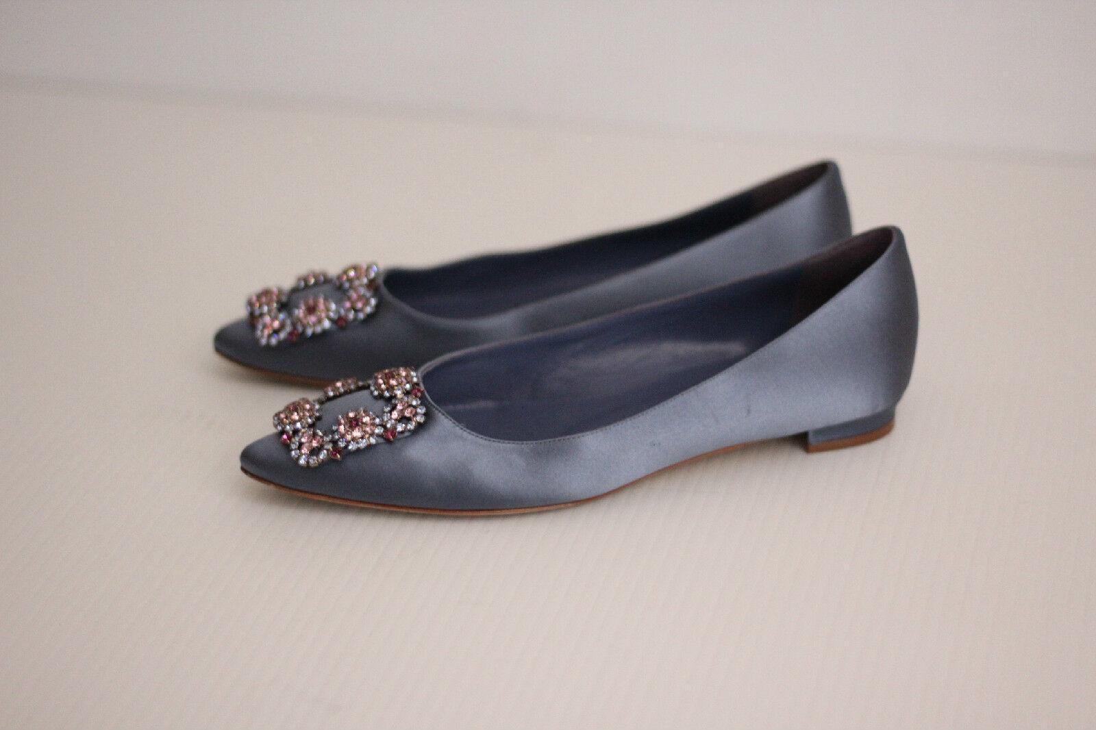 Manolo Blahnik Hangisi Jeweled Flat- Embellished Pointy Toe Flat- Jeweled Periwinkle Satin - 6 c8caa1