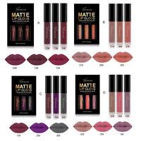 3PCS Long Lasting Waterproof Matte Liquid Lipstick Cosmetic Sexy Lip Gloss Kit