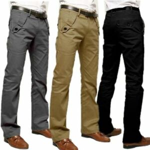 Men-039-s-Casual-Pants-Formal-Office-Worker-Cotton-Pocket-Long-Straight-Trousers