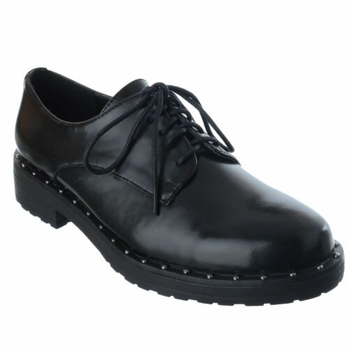 LADIES WOMENS STUDDED STUDS LACE UP BROGUES LOAFER SCHOOL OFFICE WORK SHOES SIZE