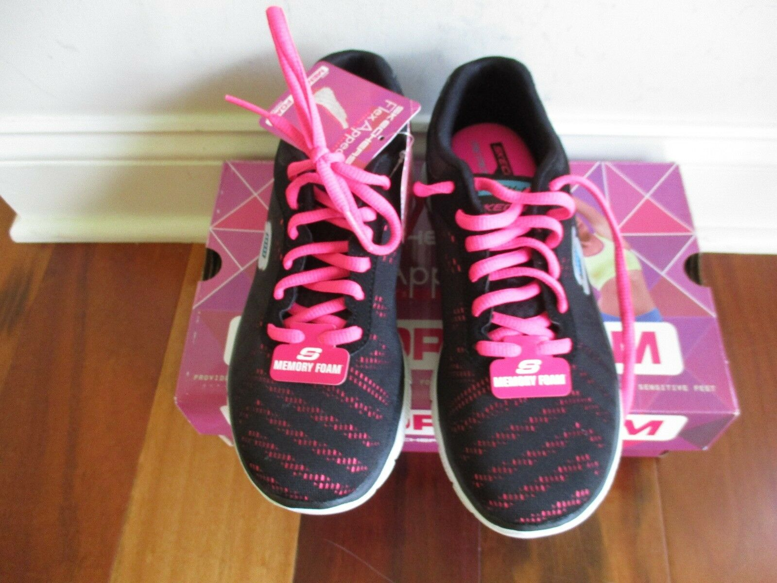 BNIB Skechers First First Skechers Glance Donna shoes, size 6.5M, Blk/Hot pink,  69.99 ac491f