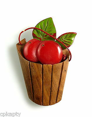 RARE Vintage 1930s 40s Bright Red BAKELITE & Wood BUCKET OF CHERRIES Brooch PIN