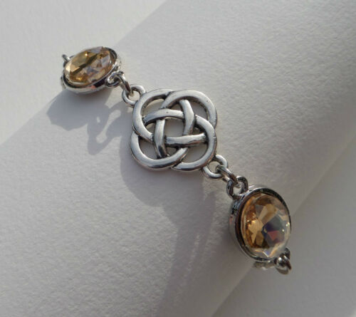 BRACELET DARK SILVER PLATED ROUND CELTIC KNOTS FACETED yellow GLASS CRYSTAL OVAL
