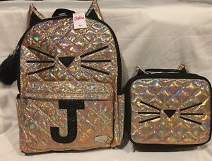 Justice NWT Girl/'s Quilted Cat Gold Lunch Tote  Very Cute  Back To School!!!