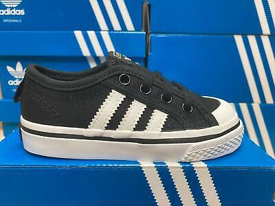 adidas Originals Nizza Infant Trainers Boys Girls Black SIZE 3 4 5.5 6 7 8.5 9.5 | eBay