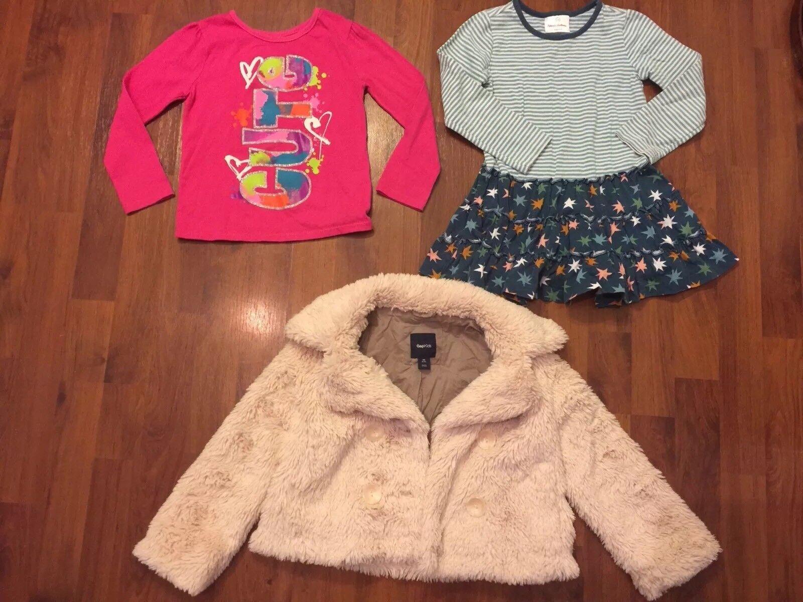 Lányok Méret 4 5 Lot Gap Hanna Andersson póló ruha tunika kabát Faux Fur