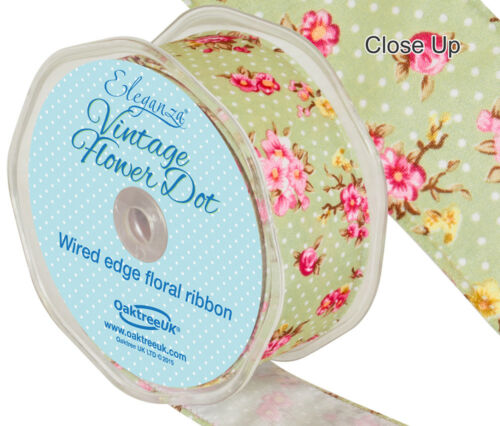 Vintage Flower Dot Wire Edge Ribbon 38mm x 10m By Eleganza Available In 3 Colour