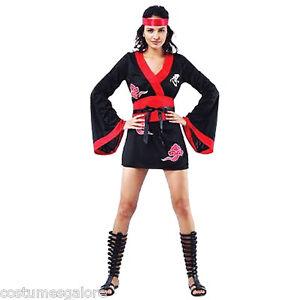 SW-Ladies-Costume-Fancy-Dress-Ninja-Kung-fu-Japanese-Warrior-Fighter-8-10-12-14