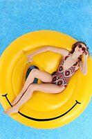 Giant Inflatable Emoji Lilo, Smiling Emoji Pool Float. Inflatable Pool Toy