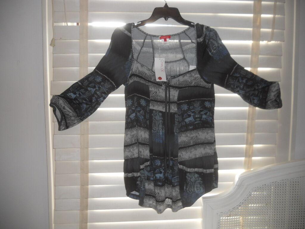 NWT Chacock Paris  Art to Wear  Scorpion Toundra Blau Tunic  1 2 3