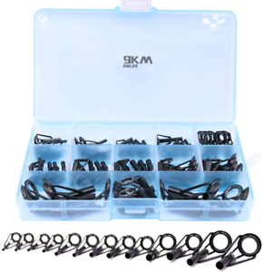 Details about  /Fishing Rod Tip Repair Black Stainless Steel Large 65 Pieces Replacement Kit