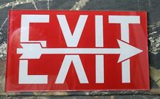 Vintage Glass Exit Sign Red White With Arrow Art Deco Movie Theater E3