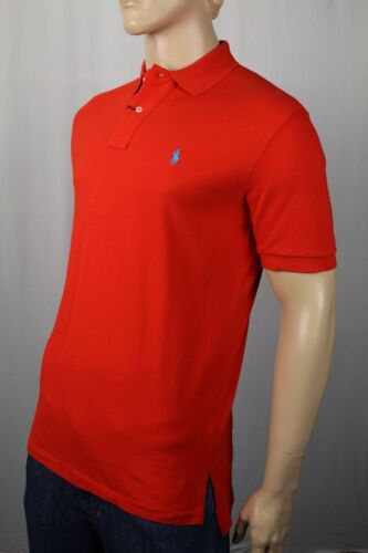 Ralph Lauren Red Mesh Polo Shirt Classic Fit Blue Pony NWT