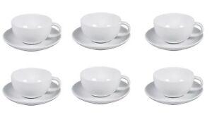 6x-Arzberg-Cucina-Weiss-Teetasse-Tee-Tasse-mit-Teeuntertasse-Unterteller-2-tlg