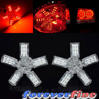 2x 3157 T25 Red 40-smd 5 Arms Star Spider Led Tail Brake Stop Light Bulbs