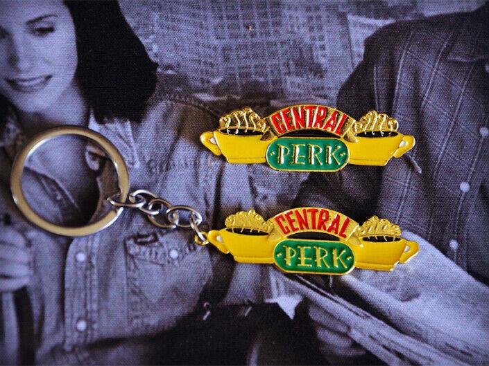 Friends TV Show Central Perk Metal Keychain Key Ring Badge Brooch