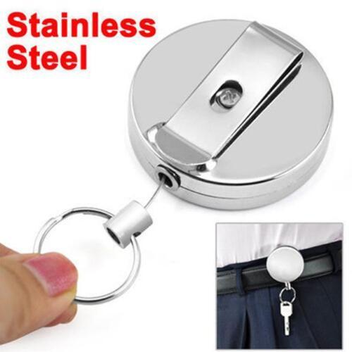 Heavy Duty Metal Steel Wire Card Holder Recoil Ring Belt Clip Pull Key Chain JD