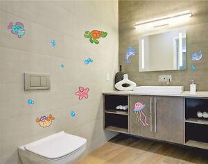 Fliesenaufkleber-Fliesendekor-Kindermotiv-Fische-Meerestiere-Delphin