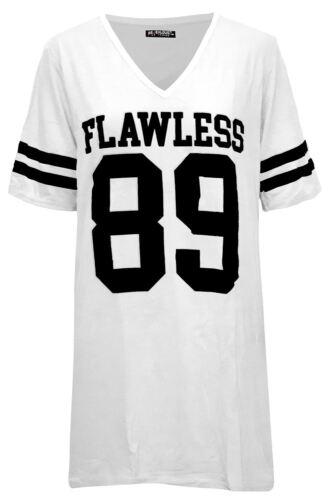 Womens Ladies Flawless 89 Short Sleeve Baseball Sports Varsity T-Shirt Tee Top