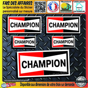 5-Stickers-Autocollant-Champion-sponsor-bougie-decal-rallye-tuning-auto-moto