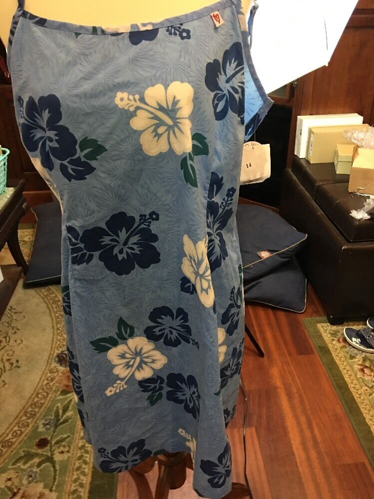 New Women's Murfie Sun Dress bluee Hawaiian Floral Print SZ 14 Tank Adjustable