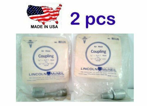 "NOS USA Lincoln 80126 Air Hose Coupling End 1//4/"" NPT Male 1//4/"" ID 5//8/"" OD 2"
