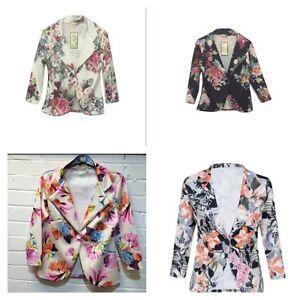 new womens ladies floral print 3 4 sleeve blazer smart. Black Bedroom Furniture Sets. Home Design Ideas