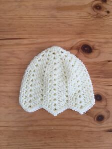 d5a549224a8 Image is loading Hand-Crochet-Baby-Hat-Cream-0-3-Months