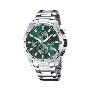 Festina F20463-3 Men's Chronograph Green Dial Silver Tone Bracelet Wristwatch