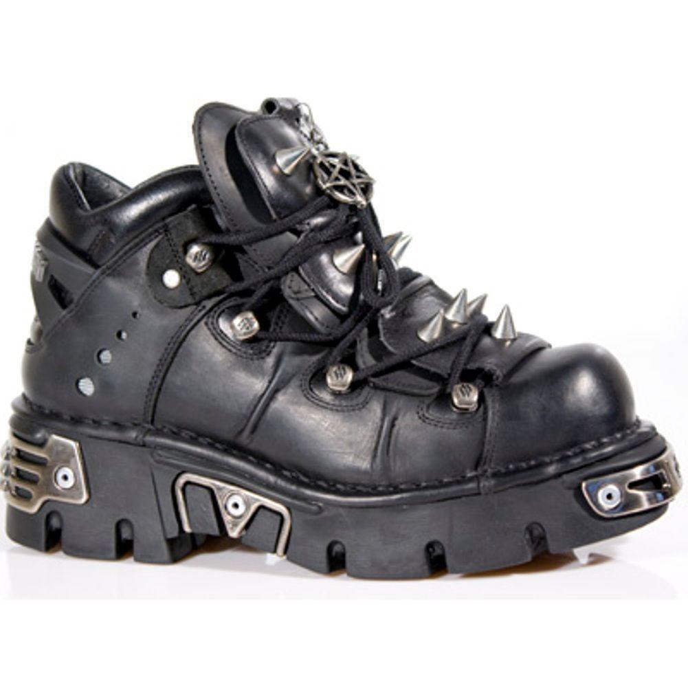 Grandes zapatos con descuento NEWROCK New Rock 110 METALLIC BLACK GOTH KNEE HIGH ZIP LEATHER BUCKLE BOOT
