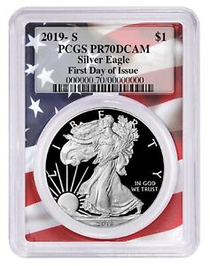 2019-S-1oz-Silver-Eagle-Proof-PCGS-PR70-First-Day-Issue-Flag-Frame