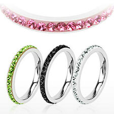 Eternity Multi CZ Around the Band Stainless Steel Wedding Band Ring 5 Color R209