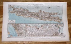 1922 ANTIQUE MAP OF JAVA / BATAVIA JAKARTA DJAKARTA / INDONESIA