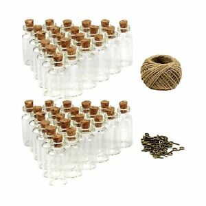 LoveS 50pcs 5ml Mini Glass Jars Bottles with Cork Stoppers Wish Bottles, 50pc...